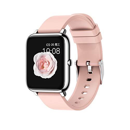 Smartwatch Mujer, Reloj Inteligente Para Mujer, Pulsera Inteligente, Reloj Inteligente Deportivo con Pantalla Táctil Completa, Pulsera Inteligente Bluetooth con Modo Deportivo Profesional, Monitor de Presión Sanguínea, Frecuencia Cardíaca y Caloria (Rosa)