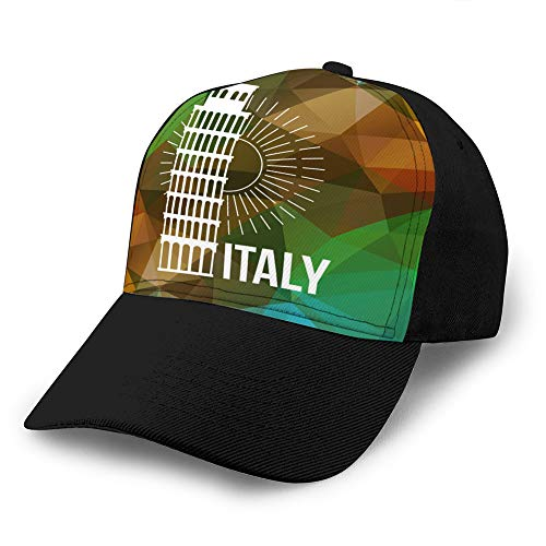 Holefg3b Sombrero de algodón Ajustable Gorra de béisbol de Mezclilla de algodón de Moda Etiqueta o Logotipo de Pisa sobre Fondo geométrico Gorra de béisbol de Mezclilla Personalizada