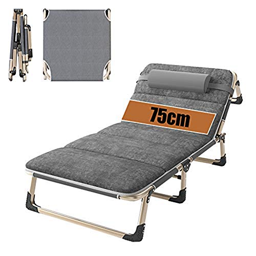 QSXF Oversized sun lounger with backrest XL seat, camping lounger with cushion aluminum strengthening leg loadable 200kg, adjustable courtyard tripod lounger D,D