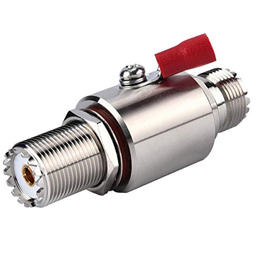 UHF Coaxial Lightning Arrestor PL-259 Lightning Surge Protector PL259 Socket (UHF Female) to SO239 Socket (UHF Female) Bulkhead for CB Radio, HAM Radio Gear, 2-Way Base Stations RFiotasy