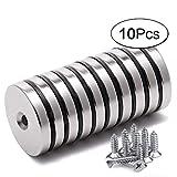 10 Stück Neodym Disc Senkkopf Loch Magnete Stark Permanent Rare Earth Magnet Mit 10 Schrauben Für Handwerk