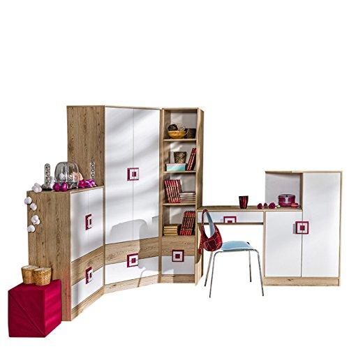 Mirjan24 Jugendzimmer Set Nicola II, 5-TLG. komplett, Griffe Farbauswahl, Eckkleiderschrank, Regal, Kommode, Wandregal, Schreibtisch - Kommode (Eiche Hell/Weiß + Rosa)