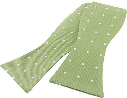 David Van Hagen Vert pâle Polka Dot Soie pas-cravate nouée de