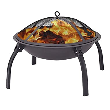 Giantex 22  Outdoor Metal Firepit Backyard Patio Garden Round Stove Fire Pit With Poker(Round)
