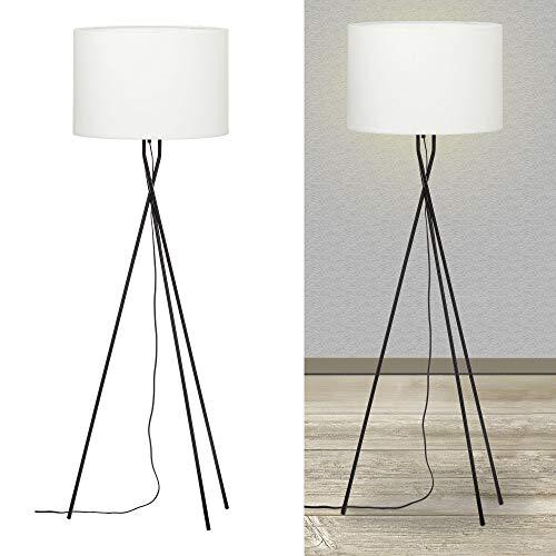 Lounge Tischleuchte dreibeinig Tischlampe Lampe Leuchte Wohnzimmer Höhe 43 cm (1 x Stehlampe weiß)