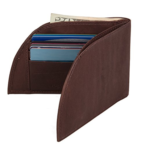 Front Pocket Men's Leather Wallet - Patented Design With ID And 6 Card Slots - Men's Leather Slim Wallet - Brown
