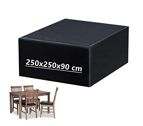 Mutsitaz Copertura per Mobili da Giardino, Rettangolare Impermeabile Telo Poliestere per Mobili Esterni Tavolo e Sedie (250 x 250 x 90 cm)