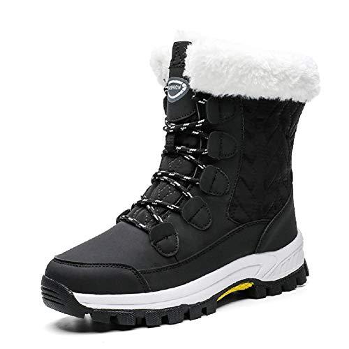 AONEGOLD Mujer Botas de Nieve Impermeable Zapatos Caliente Antideslizante Botas de Nieve Senderismo Trekking(Negro,39 EU)