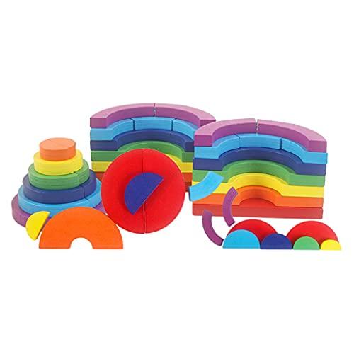 HomeDecTime Building Blocks Puzzle Toys Montessori Clasificación Juegos de Apilamiento para Bebés