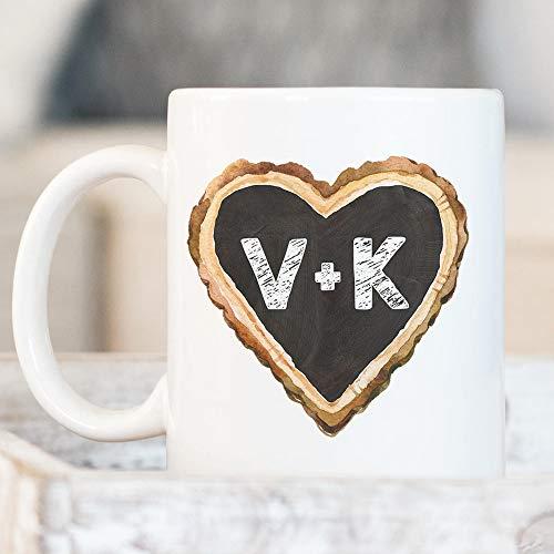 N\A Taza de café con Iniciales de corazón de Pizarra Personalizada Monograma Letras de Pareja Personalizadas Taza de cerámica para microondas y lavavajillas