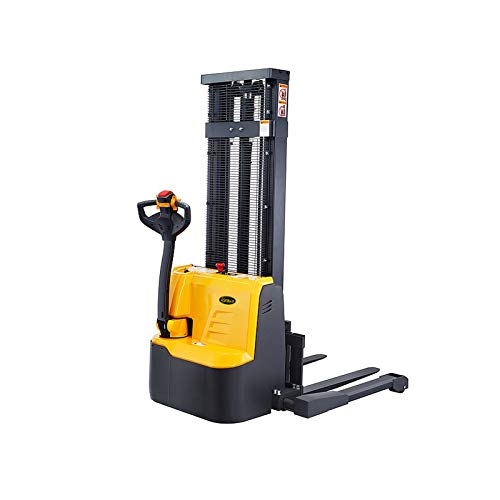 """APOLLOLIFT Fully Powered Drive and Lift Electric Stacker with Straddle Legs 3300 lbs Capacity 98"""" Lift Height, Adjustable Forks Material Lift"""
