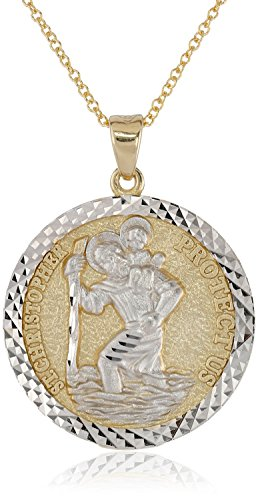 14k Two Tone Gold Diamond Cut Saint Christopher Medal Necklace, 18