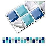 Grandora 7 Adhesivos 25,3 x 3,7 cm Azul Turquesa Plateado Etiqueta Adhesiva Design 1 I 3D Diversidad lámina para Azulejos y baldosas Cocina de baño Pegatina de Pared decoración de Azulejos W5288