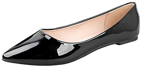 Bella Marie Angie-53 Women's Classic Pointy Toe Ballet Slip On, Black, Size 8.0