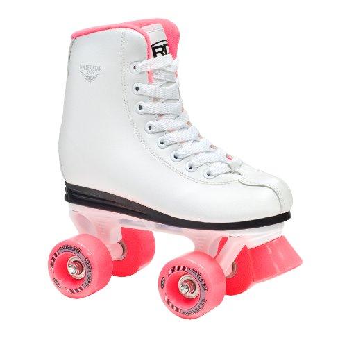 Roller Derby Kinder Skates Star 350 Girls Rollschuh Freestyle Roller, Weiß/Pink, 32.5