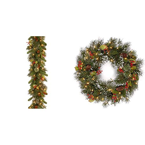 National Tree Company Pre-lit Artificial Christmas Garland & Pre-lit Artificial Christmas Wreath| Flocked with Mixed Decorations and Pre-Strung White LED Lights | Wintry Pine - 24 inch