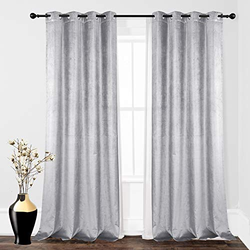 DriftAway Cotton Velvet Blackout Lined Thermal Insulated Window Curtain Grommet Single 52 Inch by 84 Inch Silver