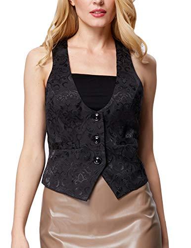 Ladies Victorian Gothic Waistcoat Coats Sleeveless Blazer(XL, Black 677)