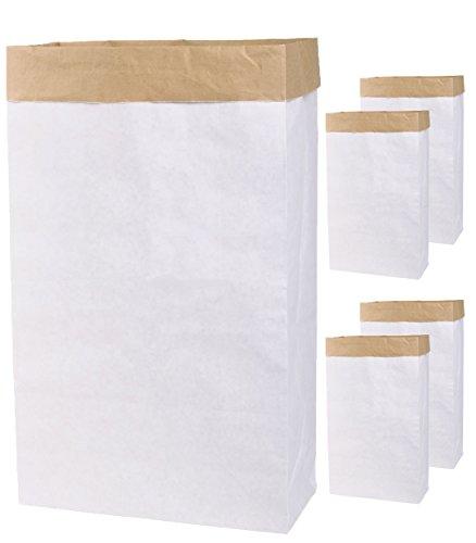 Lifestyle Lover - 5 sacchetti di carta con piegatura laterale in carta kraft, da dipingere autonomamente, colore: marrone e bianco