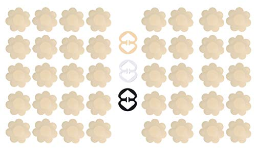 Daisyformals 20 Pairs Pasties Satin Nipple Covers Stickers Disposable Breast Petals for Women Flower Shape