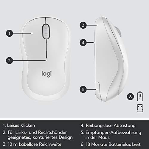 Logitech MK295 kabelloses Tastatur-Maus-Set mit SilentTouch-Technologie, Shortcut-Tasten, optischer Spurführung, Nano USB-Empfänger, verzögerungsfreier Drahtlosverbindung, QWERTZ layout- Weiß