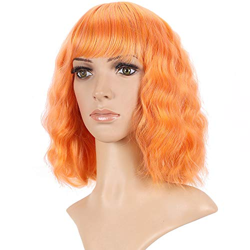 Orange Color Bob Wig with Bang 12 13 14 Inch Short Natural Body Wave Wigs Deep Wave Fashion Women Ang Girls Hair Style Wig Shawl Hair Wig Good for Your Daily Use
