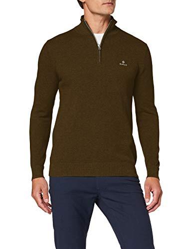 GANT Cotton Pique Half Zip Suéter, Cactus Oscuro Melange, XL para Hombre