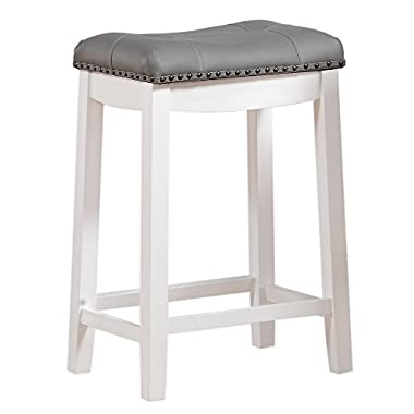 Angel Line Cambridge 24  Padded Saddle Stool, White with Gray Cushion