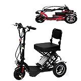 XYDDC Triciclo Plegable eléctrico portátil Mini Scooter eléctrico de Litio Portable Adulto para los inválidos de Edad Avanzada batería de Coche de 48V Puede durar 60 KM,Negro