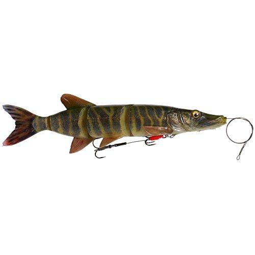 Savage Gear 4D Line Thru Pike - Swimbait Gummiköder zum Spinnangeln & Schleppangeln, Gummifisch zum Hechtangeln, Hechtköder, Farbe:Striped Pike, Länge / Gewicht:25cm / 110g