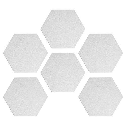 Navaris Hexágono de fieltro autoadhesivo - Set 6 paneles adhesivos de pared de 15 x 17.7 CM - Tablones para dormitorio oficina baño cocina - Blanco