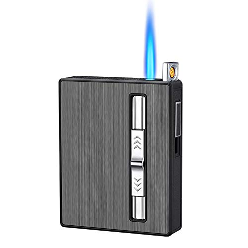 Etui à Cigarettes 3 en 1 avec Briquet éLectrique sans Flamme Rechargeable par USB, Rechargeable Et Ajustable, pour Les Hommes Et Les Amis. (Black-10pcs)