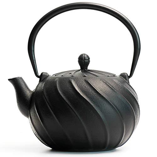 Tea Kettle, TOPTIER Japanese Cast Iron Teapot with Infuser, Stovetop Safe Cast Iron Tea Kettle, Wave Design Cast Iron Teakettle Coated with Enameled Interior for 22 oz (650 ml), Midnight Black