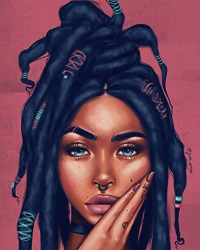 YHZSML Kit De Pintura 5D,Mujer Africana Diamond Painting,DIY Pintura al oleo por numeros,Cuadros Punto de Cruz Kit Artes artesanales Lienzo decoración de Pared 30x40cm