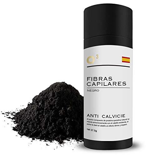 O³ Fibras Capilares Negro 27,5 Gramos Para Caida Del Cabello – Keratin Fibers 100% Natural Para Disimular Calvicie Al Instante  Maquillaje Capilar Para Hombres Y Mujeres