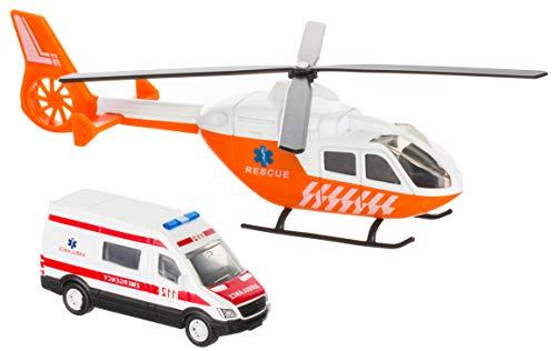 Brandsseller Rettungs Hubschrauber/Helikopter mit Rettungswagen Spielzeug Modell Weiß/Orange/Rot