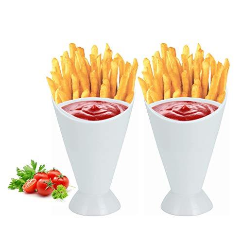 Pommes Frites Ständer 2-in-1 Pommes Frites, Kegel-Dip-Tassen, Home Kitchen Pommes Halter und Ketchup-Tassen, Set mit Snack-Kegel-Ständer mit abnehmbarem Dip-Halter, 2 Stück