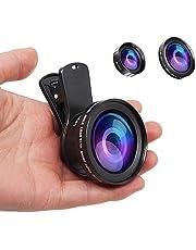 JONGSUN Kit Obiettivo per Smartphone, Universale 2 in 1, Cellulare 0,45X Grandangolo Lenti, MacroObiettivo 15X, per iPhone Android (nero)