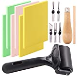 Keadic 12Pcs Soft Rubber Carving Blocks Kit, Comes with Linoleum Cutter Tools & 2 Inches Rubber Roller Brayer Rollers Glue Roller for Ink Paint Block Stamping, Printmaking Wallpaper and Arts & Crafts