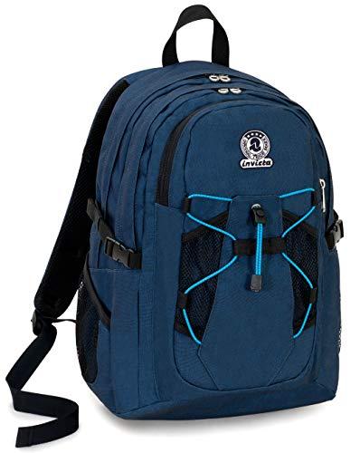 Zaino Invicta Active Benin Eco-Material, Blu, 25 Lt, Doppio Scomparto, Tasca Porta Laptop fino 13'', Scuola & Outdoor