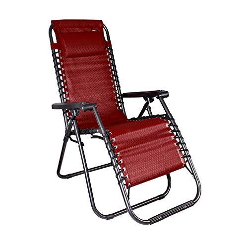 Mojawo Luxus Comfort Gartenstuhl - Relaxsessel - Relaxstuhl - Liegestuhl - klappbar - verstellbar - mit Kopfpolster Schwarz/Rot