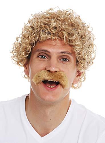 WIG ME UP - 2191-ZA82A Perücken Schnauzbart Karneval Halloween Herren lockig gelockt blond 70er Jahre