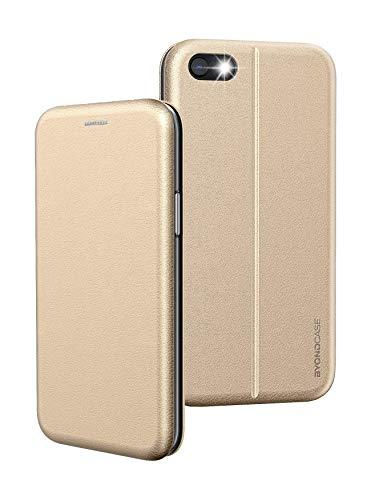 BYONDCASE Handyhülle iPhone 8 Hülle Gold, iPhone 7 Hülle [iPhone SE 2020 Hülle Deluxe Leder Flip-Hülle Klapphülle] Cover Schutzhülle kompatibel für iPhone 8/7 / SE 2020 Tasche
