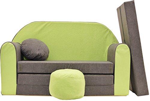 Minisofa Kindersofa Kindercouch Schlafsofa Sofabett Mini Couch mit Kissen und Sitzkissen GRAU GRÜN