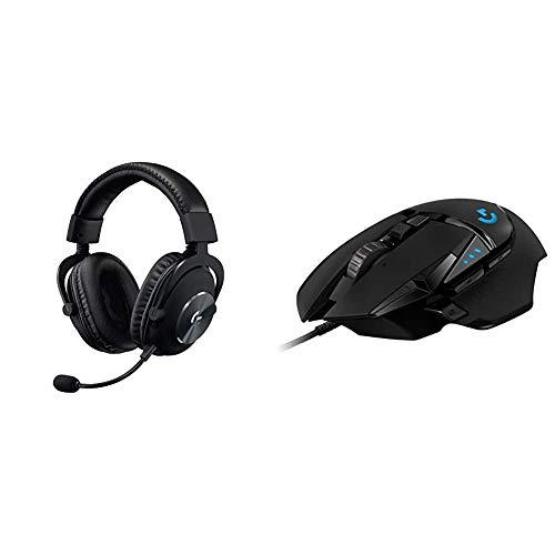 Logitech G GPro X Auriculares con Cable para Gaming, Sonido Surround, Mic Blue Vo!CE, Batería 20h y G502 Hero Ratón Gaming, Captor Hero 25K, Peso Personalizable, 11 Botones Programables