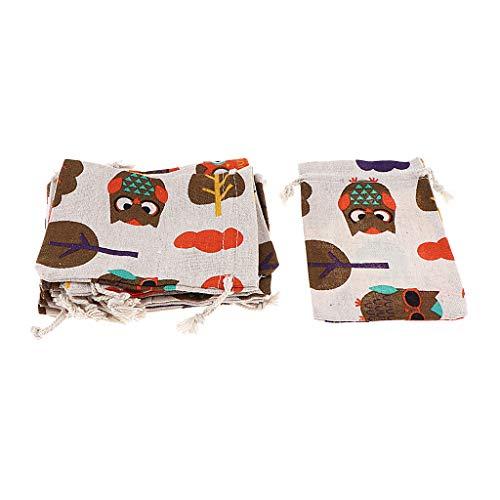 Hellery 12 Piezas de Lino Natural Yute con Cordón Bolsas de Regalos Sacos Favores de Joyería de Fiesta - Multi, Individual