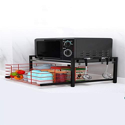 HXiaDyG Multifunctioneel keukenrek voor in de magnetron, voor het huishouden van ontlading, rijstkoker, oven, opzetstuk en opbergrek, dubbellaags