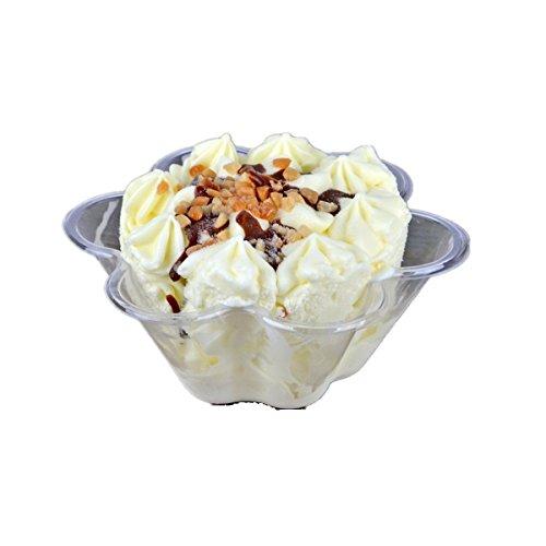 JKLcom Plastic Ice Cream Bowls Ice Cream Cups Containers Clear Plastic Disposable Dessert Bowls Disposable Ice Cream Sundae Bowls,Flower Shape,60 Pack
