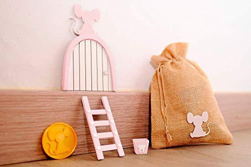 Ratoncito Pérez puerta color Rosa Algodón a su casita con escalera y cajita para diente de leche. Hecha en España