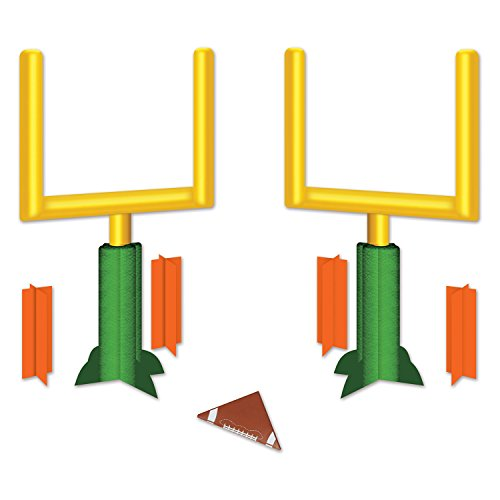 Beistle Three Dimensional Game Day Goal Post Centerpieces 2 Piece Football Decorations Sports Party Supplies, 11', Green/Yellow/Orange/Brown/White